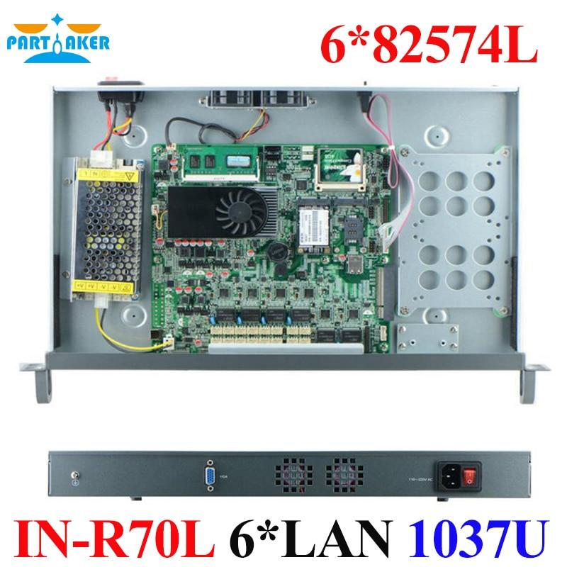 Intel Celeron 1037U Industrial 1U Rack Server pfSense Rackmount Firewall Server 1037u Dual Core 6 LAN Router mini server rack mountable without cpu with intel pci e 1000m 6 82583v lan support ros mikrotik pfsense wayos etc 1g ram 8g ssd