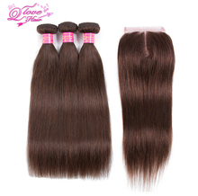 Queen Love Hair Pre-colored Brazilian Hair Straight 100% Human Hair Weave #4 Color 3 Bundles With Closure Hair Extension