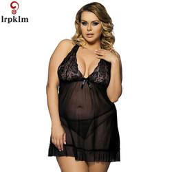 M-7XL женская сексуальная ночная рубашка без рукавов с v-образным вырезом кружева искушение ночная рубашка сплошной цвет кружева Обнаженная