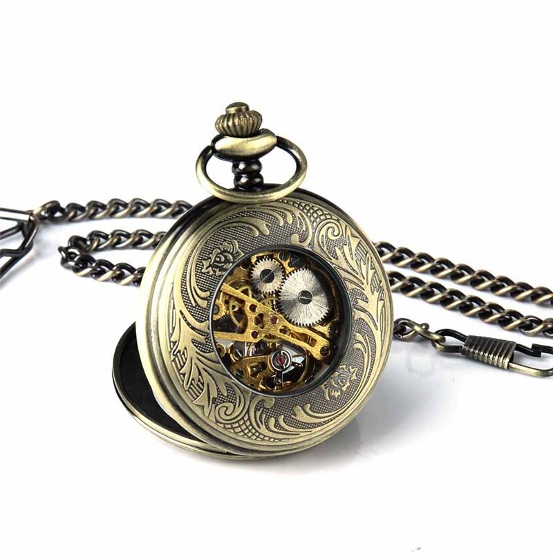 Retro Pocket Watch for Unisex Men Women Bronze Elegant Engraved Case Steampunk Skeleton Mechanical Movement With Chain Gift Box 6