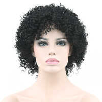 Soowee Short Curly Natural Black Synthetic Hair Wig for Black Women Party Hairstyle Cosplay Wigs Hair Accessories Headwear