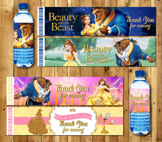 Beauty And The Beast Bottle Water Labels,wrappers, Baby