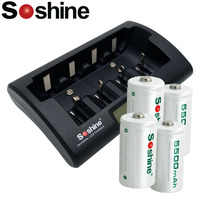 4pcs Soshine 5500 mah rechargeable C(C/R14) battery with lcd display battery charger for AA/AAA//C/D/ battery