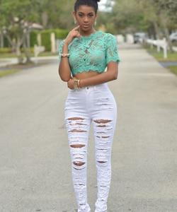 New Designer Denim Women 2018 High Waist Ripped Jeans for Women Skinny Black White Jeans Woman Elastic Slim Jean Female Femme 50