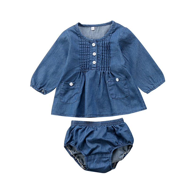 Denim Newborn Baby Boy Girl Long Sleeve T-Shirt Tops Jean Baby Bloomers Shorts 2PCS Outfit Kids Clothing Set 0-24M kids baby boy long sleeve gentleman t shirt tops long pants 2pcs outfits clothing set hot
