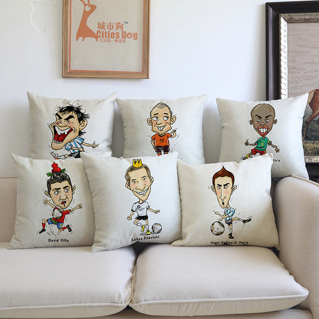 Football Star Pillow Covers Decorative Cushion Covers For Sofa Pillows  Cartoon Character Pillowcase Cushions Cover Home
