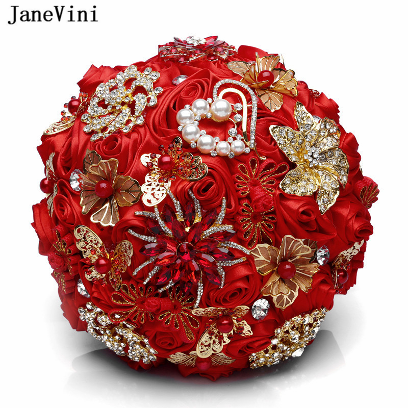 JaneVini Chic Chinese Style Red Bridal Bouquets For