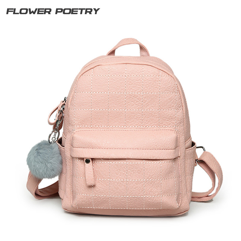 ๏pink Quilted Women Backpack Fur ② Ball Ball Ornaments