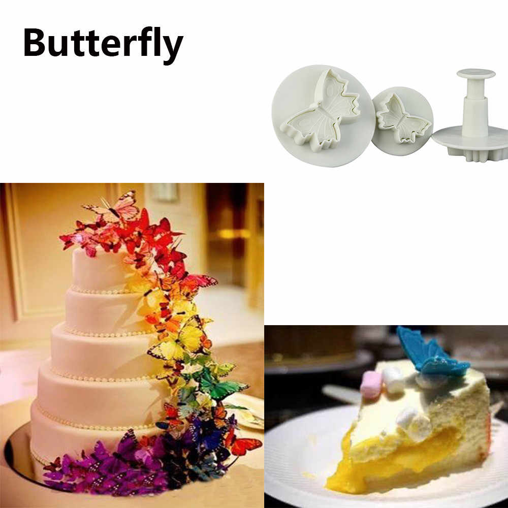 3Pcs Butterfly Flower Cake Fondant Cookie Decorating Plunger Mold baking tools for cakes moldes para repostería