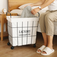 A1 Nordic retro wrought iron dirty clothes storage basket hamper household bathroom laundry basket wx11011538