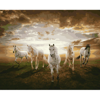 Urijk DIY Modular Five Horses Gallop Oil Painting By Numbers Canvas Nordic Decoration Paintings On The Wall Pictures 40x50cm