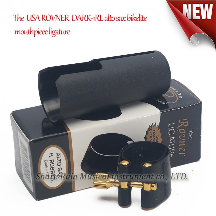 The  USA ROVNER  DARK 1RL Alto Sax Bakelite Hard Rubber Mouthpiece Ligature