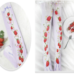 Image 1 - Branded Strawberry Garden & Star Printed Lolita Tights Sweet 80D Summer Pantyhose