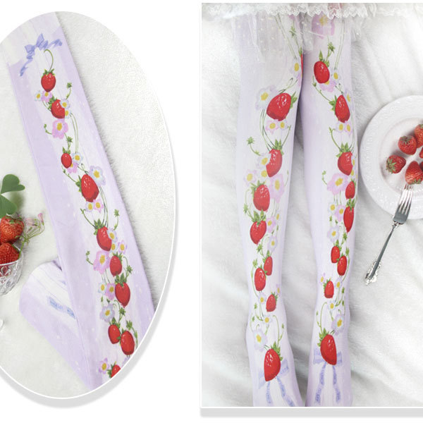 Branded Strawberry Garden & Star Printed Lolita Tights Sweet 80D Summer Pantyhose