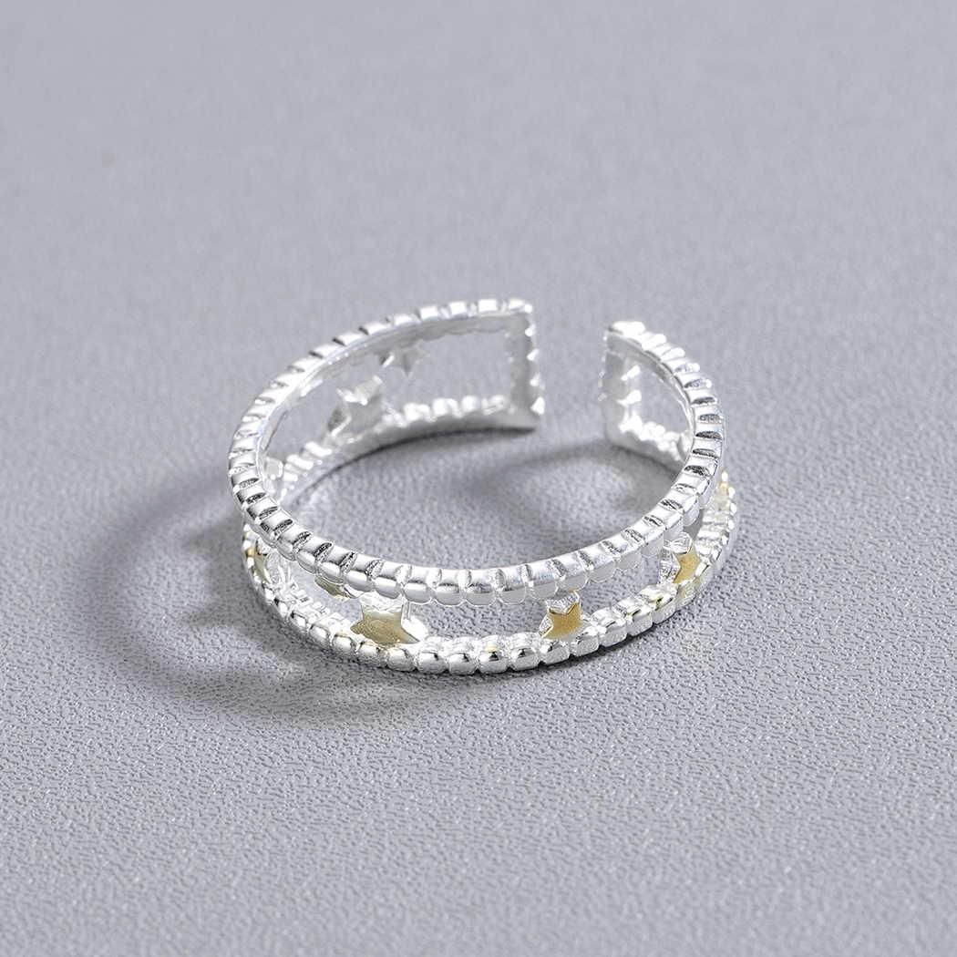 Kinitial 925 штамп серебро сверкающие кольца для женщин Простые Модные украшения звезда в двойной линии Женский открытие костяшки кольцо bague