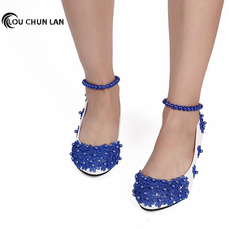 LOUCHUNLAN femmes chaussures pompes bleu à la main perle chaîne fleur à talons bas cheville chaussures de mariage 3 cm/4.5 cm talon fête femmes chaussures