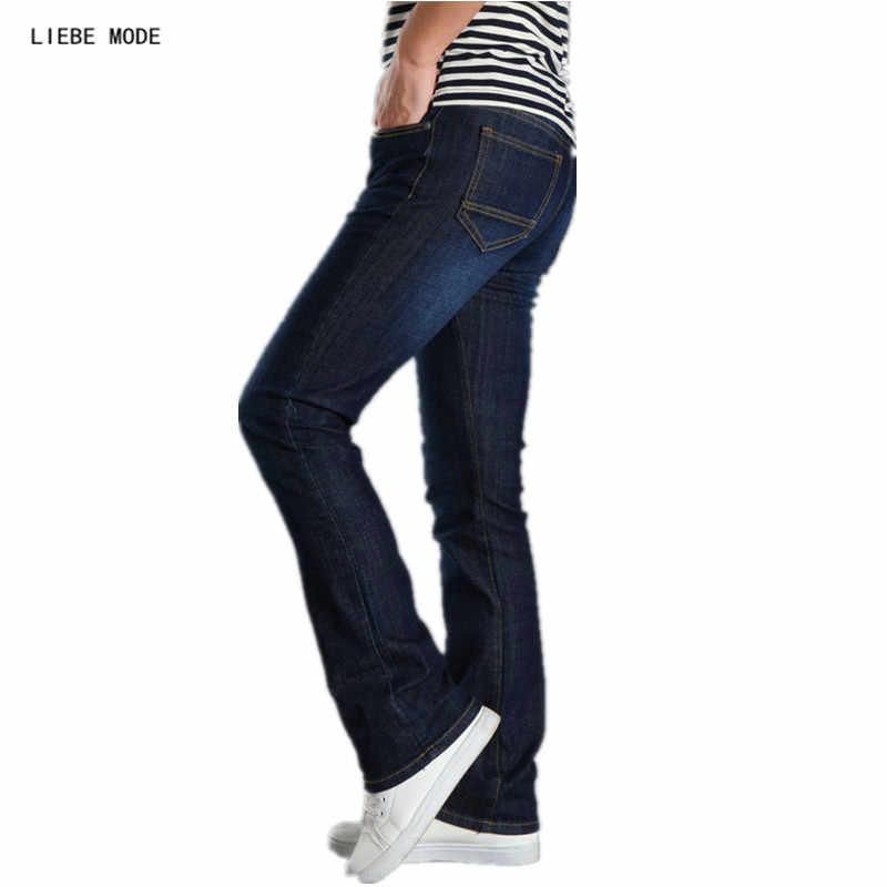 bb748e8f3a7 2019 корейский для мужчин работы Flare джинсы для женщин Bootcut s колокол  джинсы с кроем для