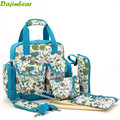 Moda 4 unids/set bolsa maternidade pañal del bebé bolsas mochila bolso de la madre del bebé bolsa de mensajero floral