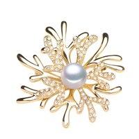 Naturales de la perla broches para las mujeres de moda Vestido de Flores, joyería fina perla del Todo-fósforo de piedra broche [xz1002]