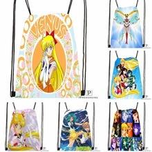 Custom Sailor Moon Dance  Drawstring Backpack Bag Cute Daypack Kids Satchel (Black Back) 31x40cm#180531-02-25