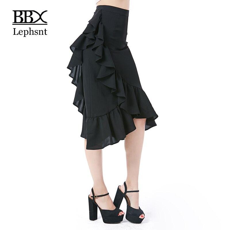BBX Lephsnt high waist skirts ruffles asymmetrical women skirt 2018 new arrival elegant skirt solid female midi skirt B83011