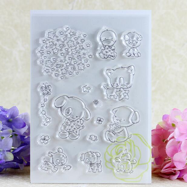 Scrapbook DIY Photo Album Card Rubber Chapter Transparent Seal star&lovely animal Clear Stamp 89 lovely bear and star design clear transparent stamp rubber stamp for diy scrapbooking paper card photo album decor rm 037