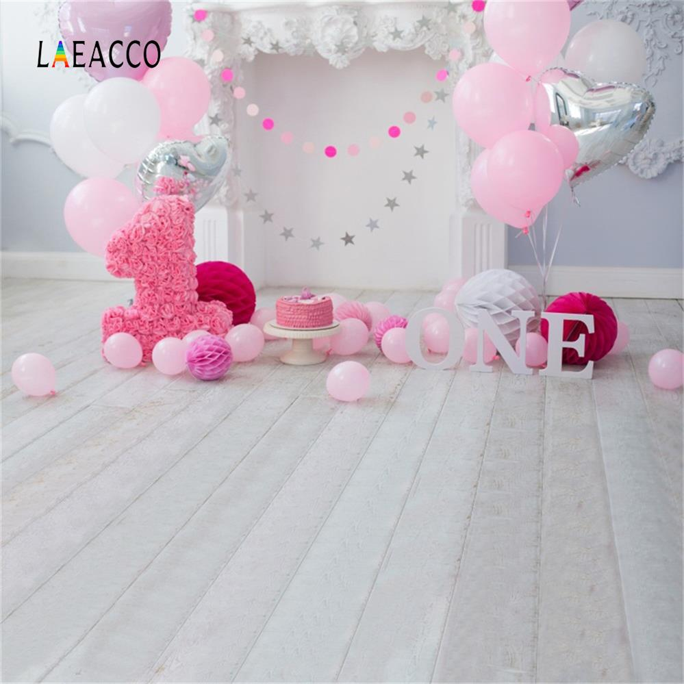 Laeacco Baby 1 Ad günü Balonları Tort Şömini Taxta Lövhələr - Kamera və foto - Fotoqrafiya 5