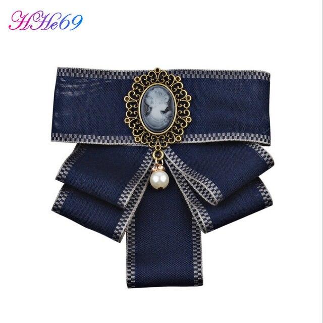 HHe69 Мода женщина ленты брошь лук длинной лентой Рубашка с галстуком украшения Аксессуары