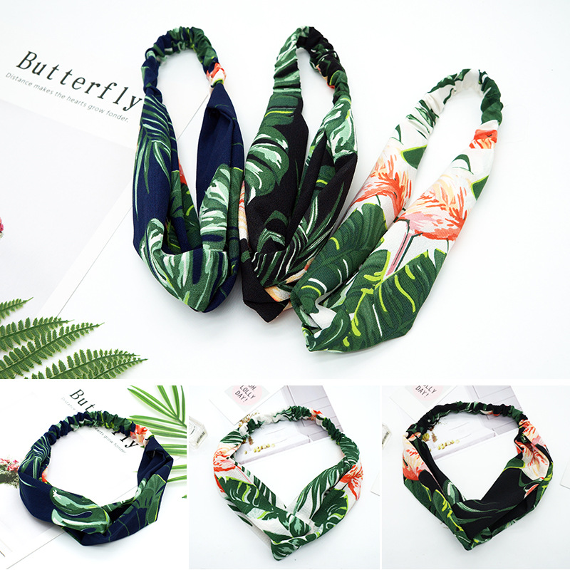 1pc New Summer Women Hair Accessories Turban Banana Leaf Headband Flamingo Cross Knot Elastic Hair Bands   Headwear   for Girls