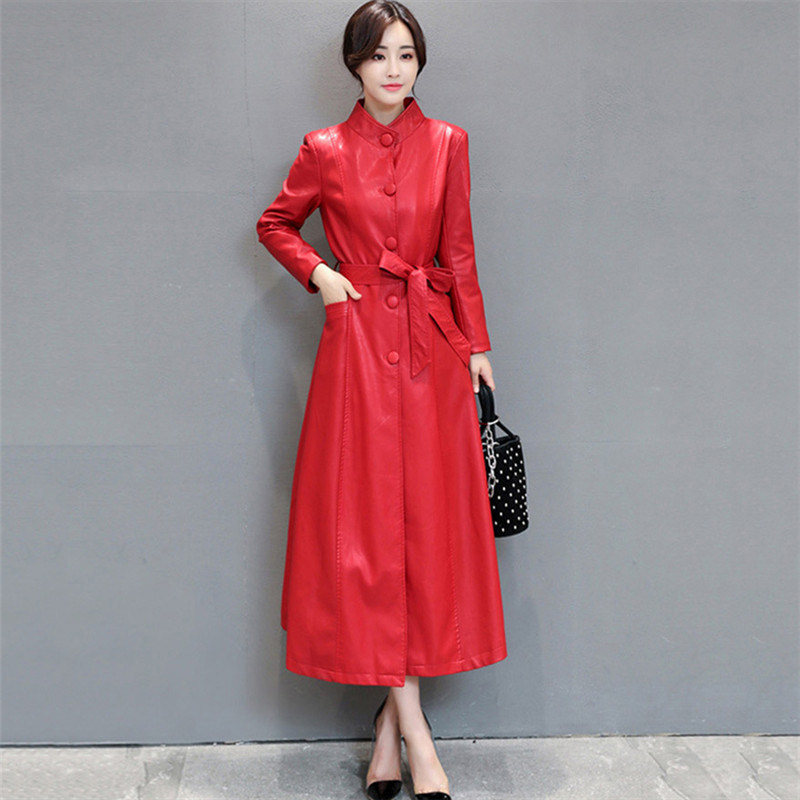 Leather   Jacket Women Black Red 2XL 3XL 4XL Plus Size Faux   Leather   Coat 19 New Autumn Winter Korean Fashion Slim Long Coat JD340