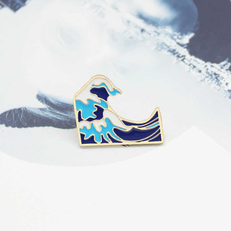 Biru Wave Bros Gelombang Yang Mengalir dengan Putih dan Biru Tsunami Gesper Enamel Logam Bros Hadiah Lucu untuk Anak-anak