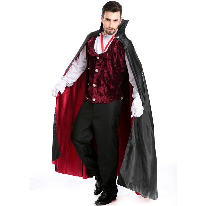 Hot Gothic Halloween Vampire Costume Adult Party Cosplay Clothes Men Evil Devil Festival Masquerade Clothing Top Trouses W9058