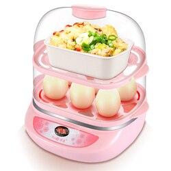 Y-ZDQ3 220V/50Hz wielofunkcyjny dwuwarstwowy elektryczny naczynie do gotowania jajek kuchenka parowiec do wykorzystania W kuchni W domu 300W moc kotły jajeczne różowy
