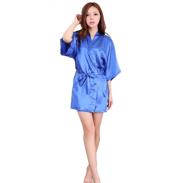 Venda quente 2016 Mulheres Roupão Quimono de Cetim Mini Robe Sexy Lingerie Camisola Pijamas com Cinto Plus Size S-3XL Roupas Femininas