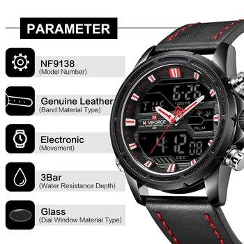 NAVIFORCE Top Merk Mannen Militaire Sport Horloges Lederen LED Digitale Quartz Horloge Waterdicht Mode Klok Relogio Masculino