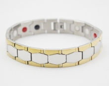 Negative ion magnetic germanium bracelet steel man germanium and tourmaline health therapy bracelet japan power bracelet gold
