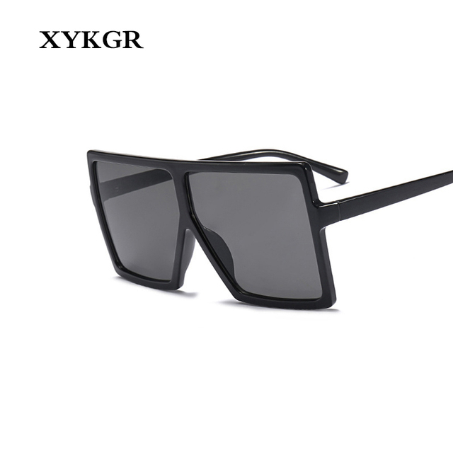 77804e40da789 XYKGR Retro Brand Designer Lady Sunglasses Black Glasses Sexy Square  Oversized Aviator Sunglasses Women Sun Visor UV400