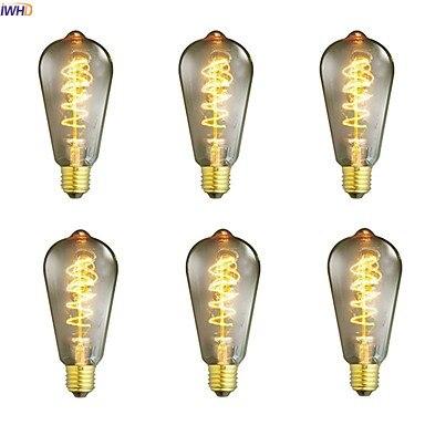 IWHD Bombillas St64 Ampul Vintage Edison Light Bulb Home Decorative 40W E27 220V Retro Incandescent Lamp A19 G80 St64 T45