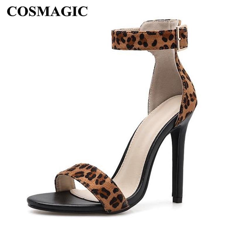709d04957 Moda Alto 2019 Leopardo De Fiesta Sexy Hebilla La Zapato Delgada Correa  Sandalia Cosmagic Sandalias Verano Bombas Nuevo Negro Mujer Tacón qpI8IwWB