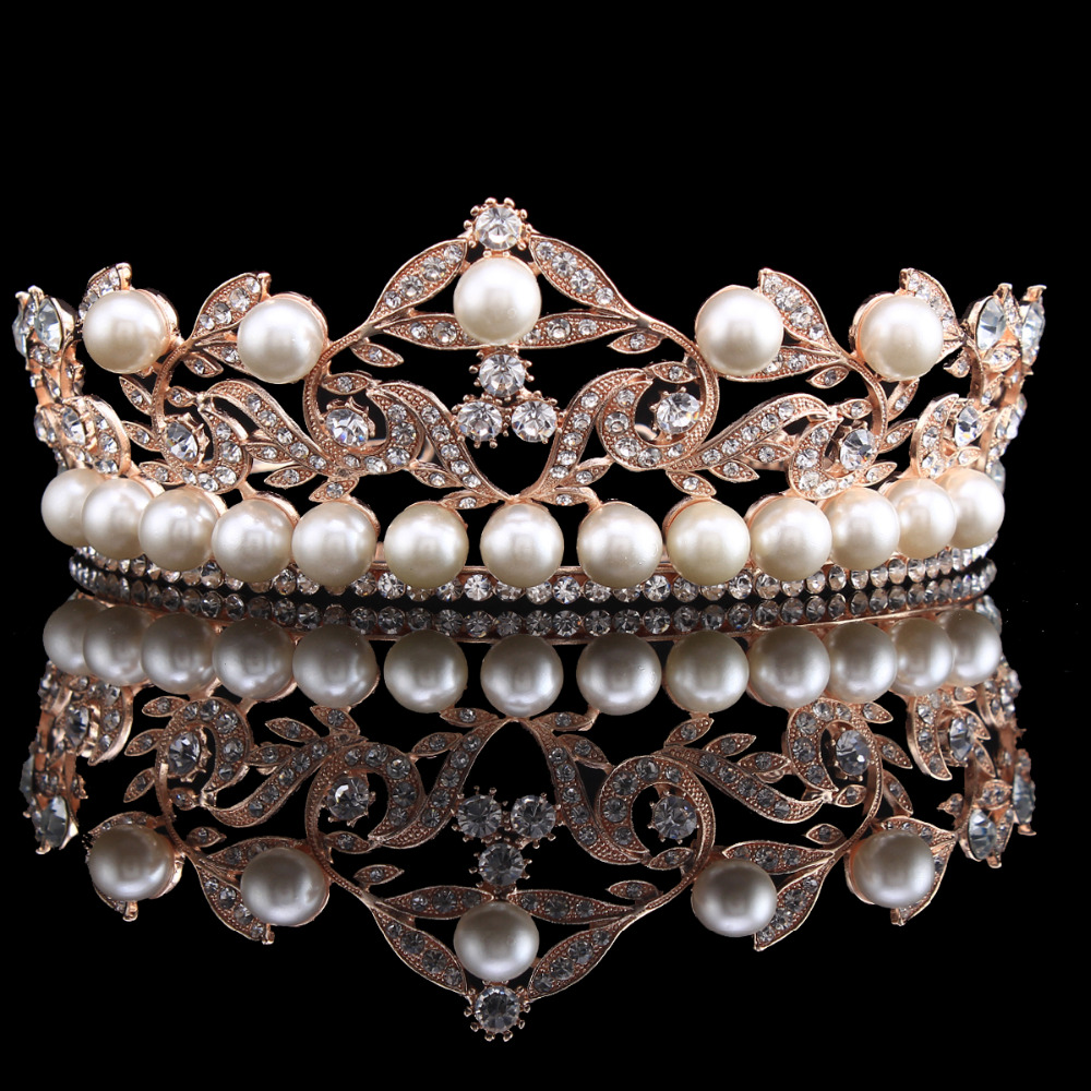 2.3 inch High Baroque Crown Tiara Headband Bridal Hair Accessories Rose  Gold Color Jewelry Leaf Crystal Tiaras HG00260-in Hair Jewelry from Jewelry  ... 66928be9f3c8
