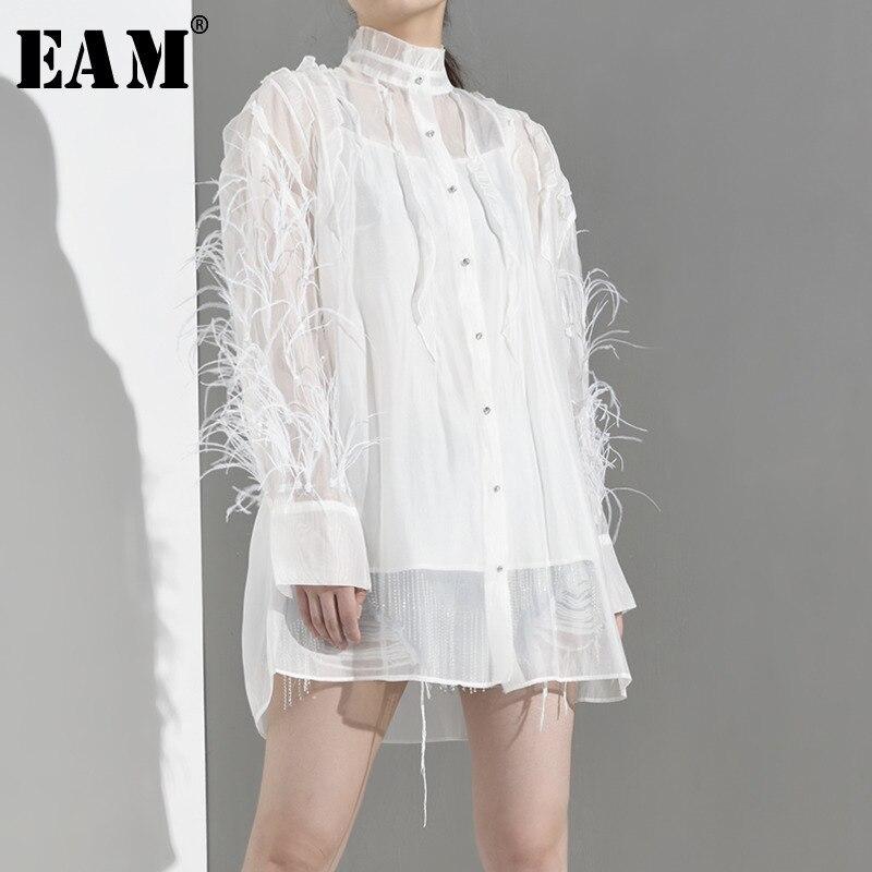 [EAM] 2019 nouveau automne hiver col montant à manches longues blanc plume glands Split Joint grande taille chemise femmes Blouse mode JT28