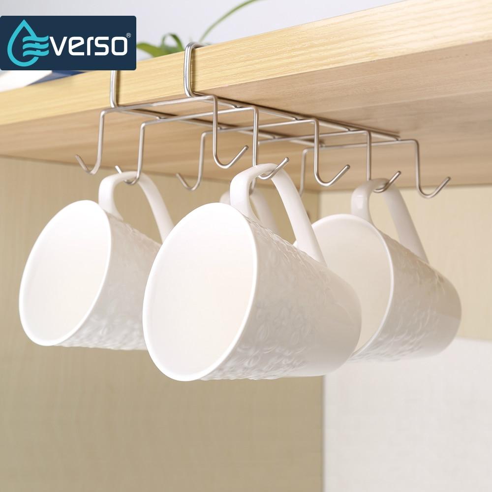 EVERSO 10 Hooks Cup Holder Rack Cupboard Hanging Shelf Dish Hanger Kitchen Space Saving Hook Bathroom Chest Storage Shelf