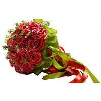 Handmade Pastorale Artificiali Fiori Finti Bouquet di Simulazione Roses Perle Nuziale della Holding Toss Bouquet per la Cerimonia Nuziale Favorisce (Red)