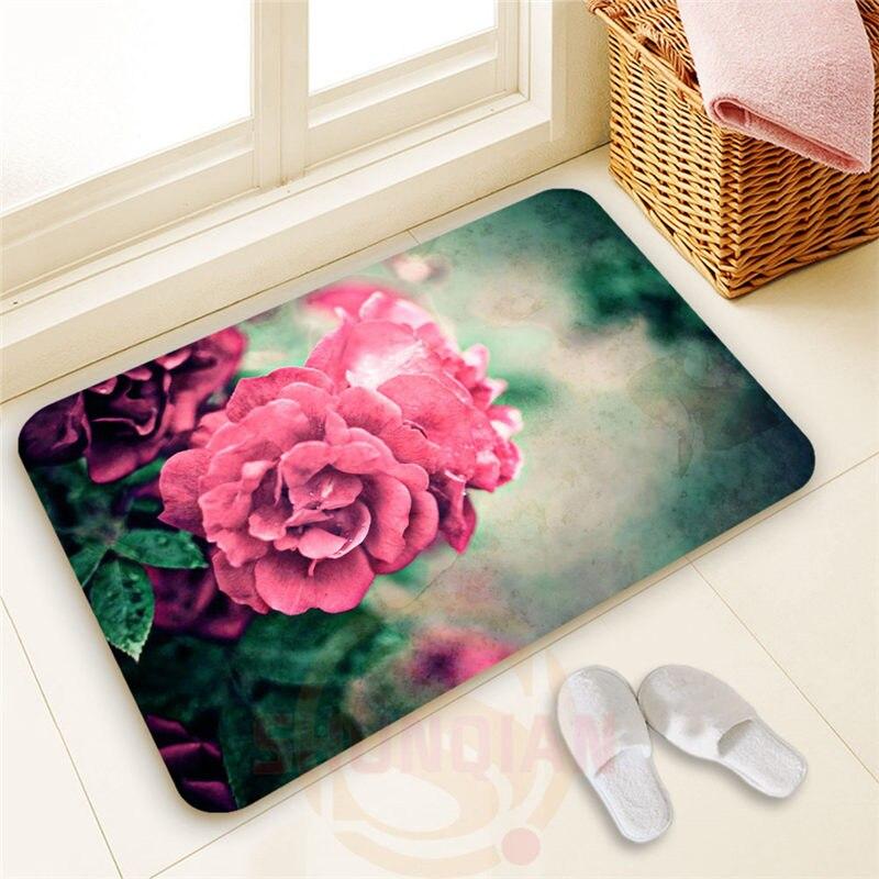 Top Design Custom Beautiful rose #14 Doormat 100% Polyester Home decor Non-slip Floor Mat Bath Mats#1031@40