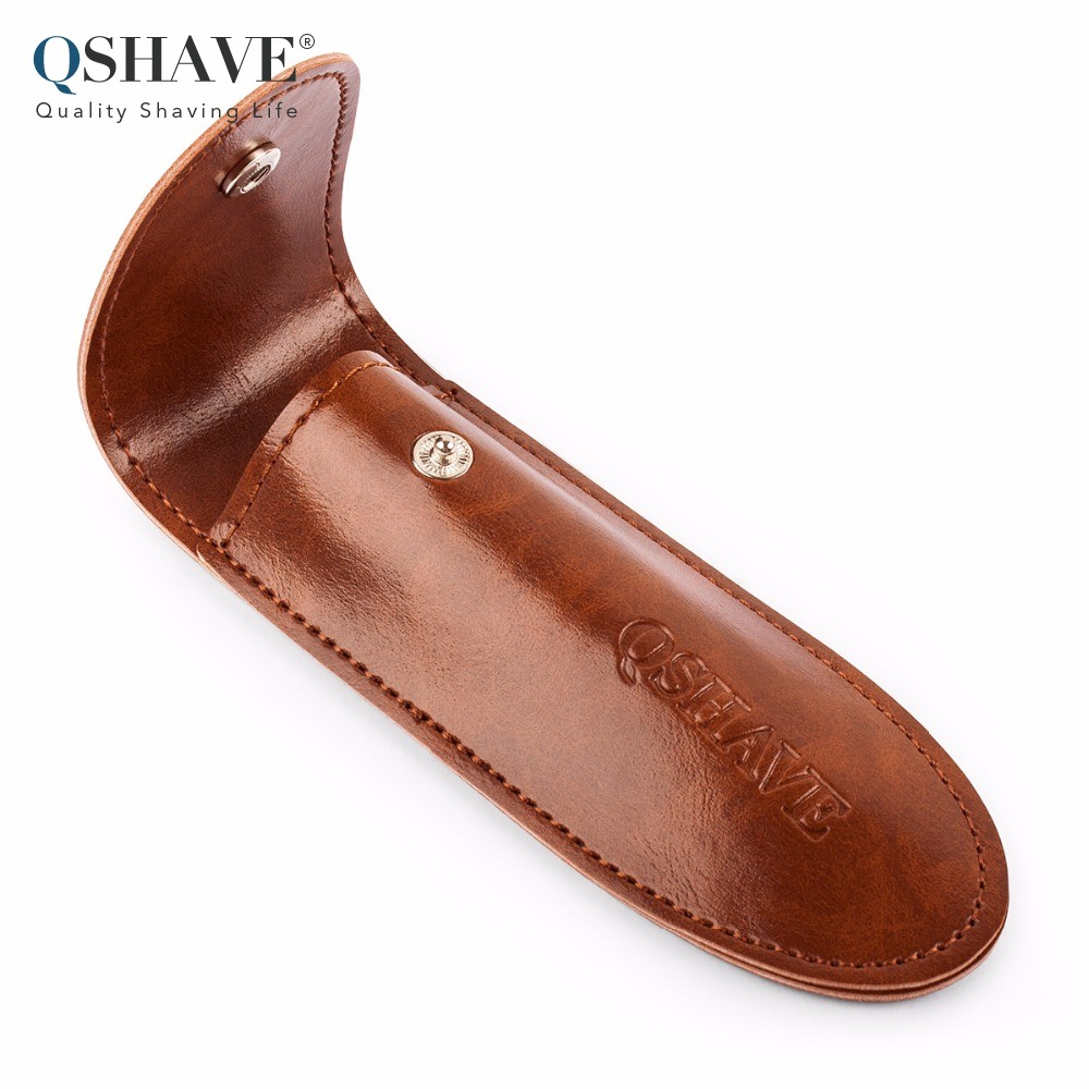 Qshave Travel Razor Holder Case For Manual Double Edge Safety Razor Razor PU Leather Brown Color 1 Pc