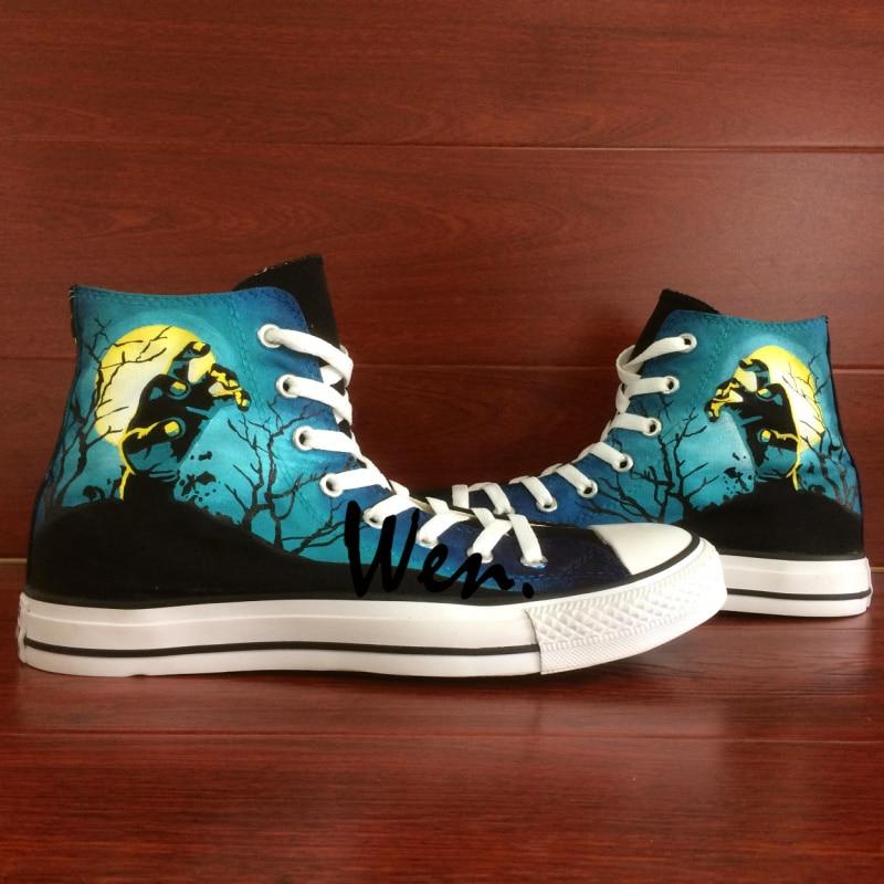 Prix pour Wen Custom Design Peint À La Main Chaussures Hommes Femmes de Sneakers Walking Dead Peint High Top Toile Sneakers pour Cadeaux De Noël