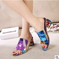 Ladies peep toe pumps med heel slippers women summer high heel shoes max size 9 10 fashion rhinestone slip on casual for girls