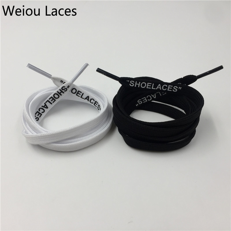 (30Pairs/Lot)Weiou Tubular Polyester Black Flat Laces Replacement Off-White Printing SHOELACES Handmade Custom For Sneakers