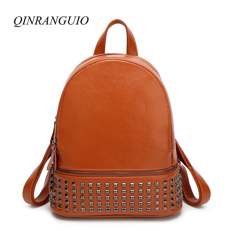 QINRANGUIO Backpack Women 2018 Rivet Soft PU Leather Backpack Preppy Style Women Backpack School Bags for Teenage Girls Mochila yesello embroidery letters crybaby hologram laser backpack women soft pu leather backpack school bags for girls nbxq194