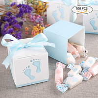 100pcs Candy Gift Box Paper Bag Chocolate Packaging Box Wedding Favors Decoration Home Birthday Kids Baby Shower Party Supplies